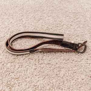 Forever 21 Thin Brown Belt with Canvas Stripe
